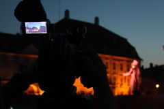 Video camera viewfinder in the night Stock Photography