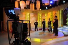 Video camera viewfinder - TV show. Video camera viewfinder - recording TV show in studio royalty free stock photography