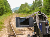 Video Camera Watching Train Tracks Royalty Free Stock Images