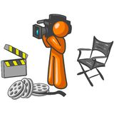 Video Cameraman. A graphic illustrating an orange man with a video camera Royalty Free Stock Photos