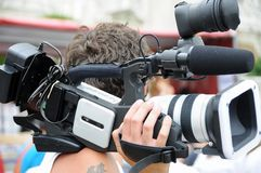 Video cameraman stock image