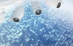 Video cameras above abstract city. Video cameras above blue low poly Abstract city. 3d rendering Stock Photos