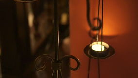 Video of candle chandelier decorate oriental style stock video footage