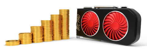 Video card and golden bitcoin coins. 3d illustration. Suitable for bitcoin and other mining themes Royalty Free Stock Images