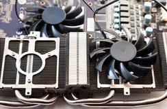Video card radiator and fan with heatsink close up stock photo