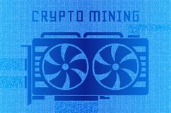 Video card technology illustration. Cryptocurrency GPU mining. A stream of hexadecimal code on background Stock Photos
