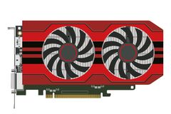 Computers video card. Video card with two cooler in a red case for the computer. Vector image Royalty Free Stock Photos
