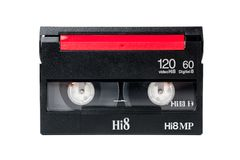 Video cassette. Closeup detail of 8mm video cassette royalty free stock photo
