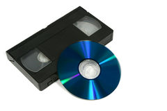 Video Cassette and DVD. Disc stock photo