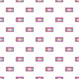 Video cassette pattern, cartoon style. Video cassette pattern. Cartoon illustration of video cassette vector pattern for web Stock Image