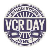 Video Cassette Recorder Day stamp. Video Cassette Recorder Day, June 7, rubber stamp, vector Illustration Stock Images