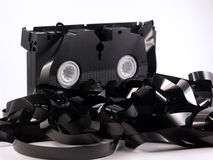 Video cassette unwound Royalty Free Stock Photo