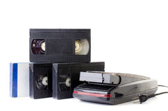 Video Cassette and Vintage VHS Rewinder Stock Photography