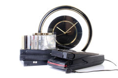 Video Cassette and Vintage VHS Rewinder Stock Images