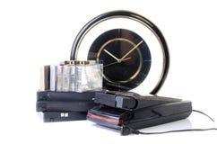 Video Cassette and Vintage VHS Rewinder Stock Images