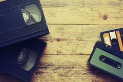 Video cassettes and audio cassettes Stock Photo