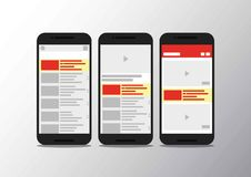 Video channel app interface mobile phone vector illustration