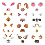 Video chat animal faces effects. Selfie filters, cat, dog, raccoon, rabbit, mouse and teddy bear cute funny ears and noses. Vector flat style cartoon Stock Photo