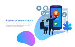 Video chat concept. Man communicates using video chat on smart phone. Online web chat. flat design. Video conference stock image