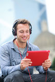 Video chat conversation - man talking on tablet pc Stock Images