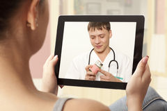 Video chat with doctor Royalty Free Stock Image