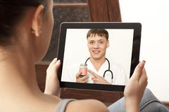 Video chat with doctor Stock Image