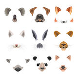 Video chat effects animal faces flat icons templates of dog, rabbit, cat. Animal faces templates for video chat effects or selfie filters set. Vector flat  funny Royalty Free Stock Image