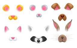 Video chat effects animal faces set. Stock Photography