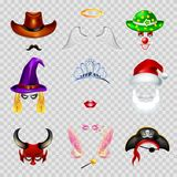 Video chat effects animal faces set. Video chat faces funny mask effect template icons for selfie filters. Vector flat  set of cowboy mustaches, angel wings and Stock Images