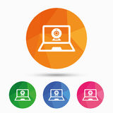 Video chat laptop sign icon. Webcam talk. Stock Images
