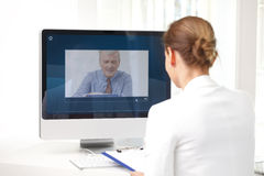 Video chat in office Royalty Free Stock Photos