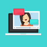 Video chatting online on computer vector illustration. Flat cartoon video player window with speaking happy girl and bubble speeches messages on laptop stock illustration