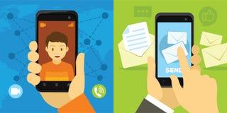 Video chiamata e messaggio dallo smartphone Immagini Stock Libere da Diritti