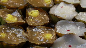 Video Chinese sweet steam. New year and moon festival dessert stock video