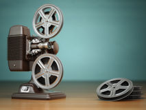 Video, cinema concept. Vintage film movie projector and reels on. Green background. 3d Royalty Free Stock Image