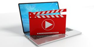 Video clapper on a laptop - white background. 3d illustration. Media clapper on a laptop on white background. 3d illustration Stock Image