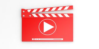 Video clapper on white background. 3d illustration. Media clapper isolated on white background. 3d illustration Stock Image