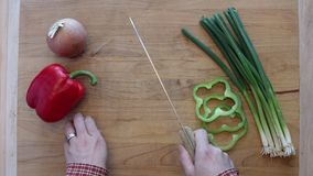 Video clip of cutting vegetables. stock footage