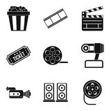 Video clip icons set, simple style. Video clip icons set. Simple set of 9 video clip vector icons for web isolated on white background Royalty Free Stock Image