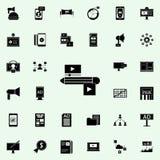 Video communicatie pictogram Digitaal die marketing voor Web wordt geplaatst en mobiel pictogrammenalgemeen begrip royalty-vrije illustratie