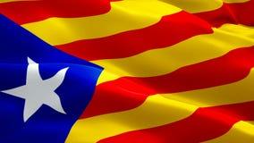 Video completo del metraggio del primo piano 1080p HD 1920X1080 della bandiera di Barcellona che ondeggia in vento Ondeggiamento  illustrazione vettoriale