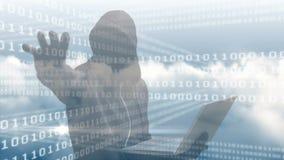 Video composito di Digital del pirata informatico che per mezzo del computer portatile illustrazione di stock