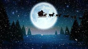 Video composizione con neve di caduta sopra l'animazione di Santa in slitta a paesaggio di inverno con pieno archivi video