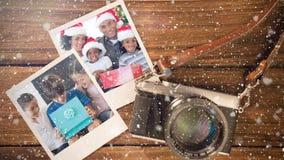 Video composizione con neve sopra la macchina fotografica con le immagini istantanee dal lato illustrazione vettoriale