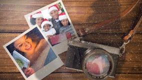 Video composizione con neve sopra la macchina fotografica con le immagini istantanee dal lato royalty illustrazione gratis