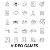Video computer games, controller, play, screen, arcade, console, joystick line icons. Editable strokes. Flat design Royalty Free Stock Images