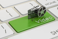 Video concept on green keyboard button, 3D rendering Stock Photos
