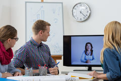 Video conference with boss. Team have video conference with their boss Royalty Free Stock Photos