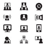 Video conference communication(Meeting, Seminar, Training)  icon Stock Images