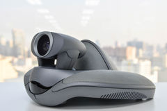Video Conference Device - camera. Video Conference Device on the white table Stock Photo